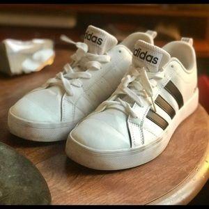 Classic Adidas white leather black stripe